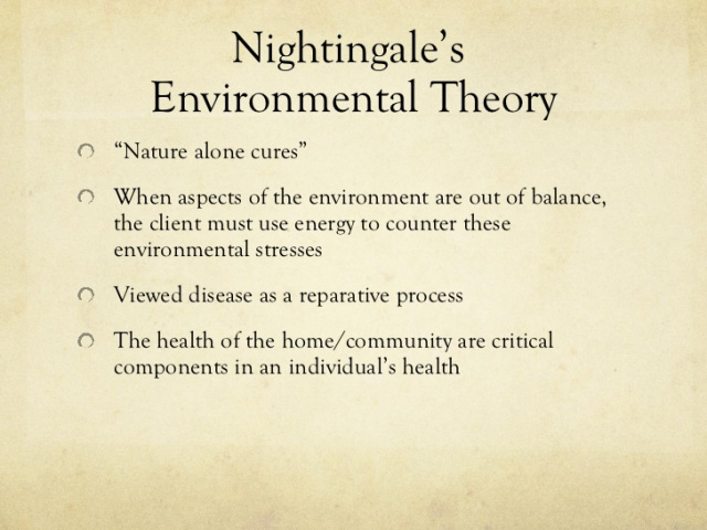 analysis of florence nightingale environment theory theoretical framework nightingales environmental theoryenvironmental theoretical framework we utilized